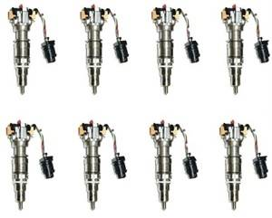 Diamond T Enterprises - Fuel Injectors, Ford (2003-10) 6.0L Power Stroke, set of 8 Hybrid 250cc, 30% over nozzle, 7mm Plunger